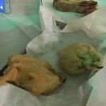 Stuffed zucchini flowers, stuffed peppers and mousaka