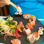 """A sushi combi dish, with fresh white fish. You can choose between """"fusion"""" sushi or more traditi"""