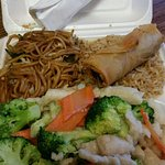 Chicken & broccoli, chow mein, fried rice and egg roll - dinner - chow mein was divine!