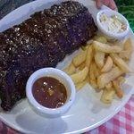 Rack of teriyaki ribs and chips