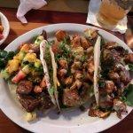 Taco Trio - BBQ Mahi, Honey soy glazed salmon and sword fish