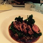 Perfectly cooked lamb and kale