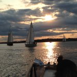 Sailboats on the water as we await sunset.