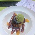 Cherry Dessert with Green Tea Ice Cream