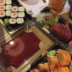 Mini Salmon and Mini Cucumber Rolls; and Tuna Sashimi