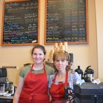 Welcoming counter at Boston Dreams with Evy on the left and owner, Karen on the right.