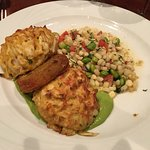 CLASSIC CRAB CAKE DINNER WITH FRESH SOCCOTASH