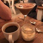 Coffee, lemon cheesecake and an espresso martini. Fab