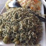 Large sampler plate (way too big lol) of baghali polo and shirin polo!