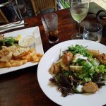 Fish and chips & calamari salad