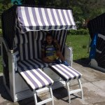 Children have their own shaded loungers for when it's to hot,there shaped like rickshaws and adj