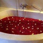 Bathtub full of fresh flowers. Nice gesture!