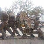 Korean Soldiers and children End of Statue