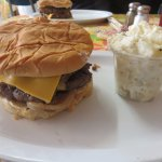 Double 8 oz. Cheeseburger with Bacon and a side of potato salad