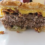The Double Cheeseburger cut in half