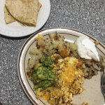 Chorizo scramble with flour tortillas