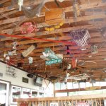 Ceiling of odd things hanging over head