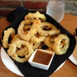 battered onion rings w/ rhubarb sauce