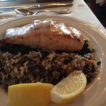 Salmon with wild rice and spinach