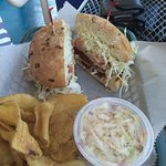 Ahi sandwich with cole slaw and chips
