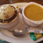 Guinness Beef with mashed potatoes and side of crab soup
