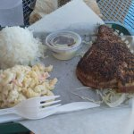 Furikake ahi platter with mac salad and white rice