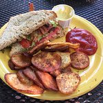 BLT and seasoned fried potatoes