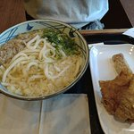 Niku udon with fried chicken