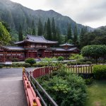 Gorgeous backdrop to the Byodo-In Temple, Kaneohe, Oahu.