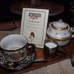 A pot of tea and a double shot Macchiato