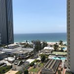 View of the beach from the rooftop pool.