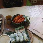 Tofu spring rolls,Nori Rolls, Sweet potato fries