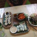 Dragon Bowl salad, Tofu spring rolls,Nori Rolls, Sweet potato fries