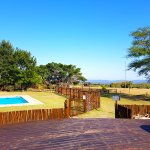 Amorello guest pool and restaurant look out over the Lebombo Mountains north of Hluhluwe
