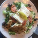 large greek salad with chicken