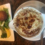 crab cakes and french onion soup