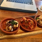 Tapas... Five Bean Chilli, Salmon Bites and Prawns