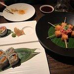 rolls and crispy tuna rice