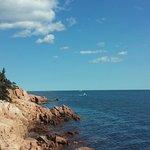 Coast line by lighthouse.