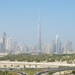 View of the Burj Khalifa and city from the pool