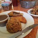 beef meat pie, dirty rice & fried okra