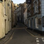 Typical narrow Mevagissey street (eventually leads to Honeycombe House up the hill)
