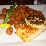 Salmon/crab cake and sweet potato tater tots