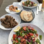 Mediterranean salad (times two!) with grilled shrimp and gyros
