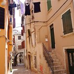 Narrow alley in Rovinj old town