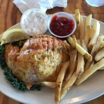 Newport News VA Crab Shack Restaurant, Crab Stuffed Flounder & Fries, 9-14-17