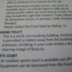 Shuttle details and smoking policy