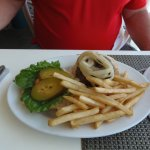Hamburger & fries at Sebastian's Seaside Grille, Tortola