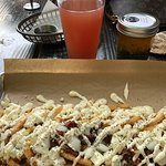 Bacon Blue Cheese Fries + Legend Cider + Chimichurri Sauce