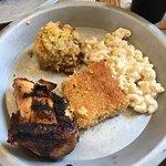 smoked chicken, mac and cheese, corn puddin', cornbread